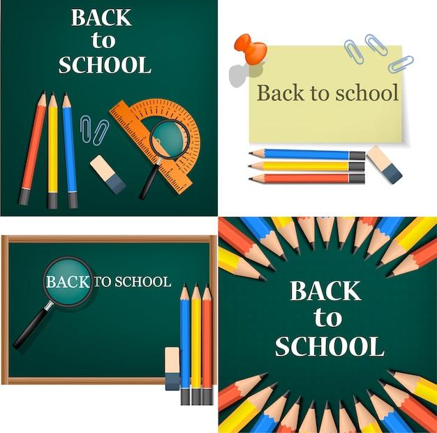 Volta para escola crianças ferramentas suprimentos banner conceito conjunto