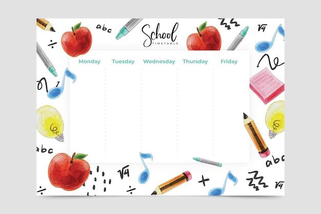 Volta para escola design aquarela calendário