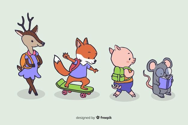 Volta para escola design com animais fofos