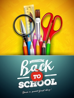 Volta para escola design com lápis colorido, lupa, tesoura, régua e tipografia letra sobre fundo amarelo