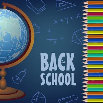 Volta para escola design de cartaz com globo, lápis de cor