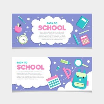 Volta para escola design plano de banners