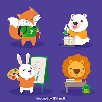 Volta para escola design plano de coleção de animais