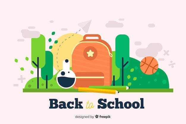 Volta para escola design plano ilustração com mochila e árvores