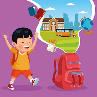 Volta para escola dos desenhos animados de crianças