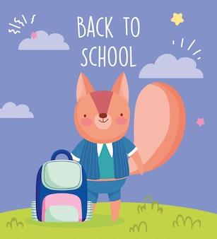 Volta para escola educação esquilo bonito com uniforme e mochila