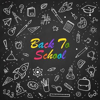 Volta para escola giz doodle fundo no quadro-negro