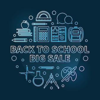 Volta para escola grande venda vector azul redondo linha fina ilustração