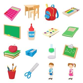 Volta para escola ícones definidos em estilo cartoon isolado