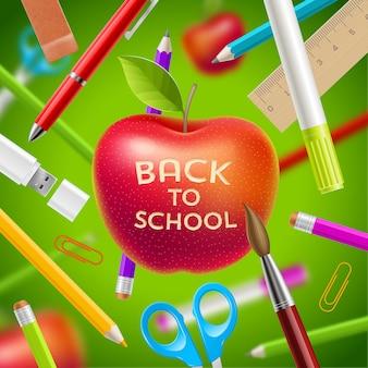 Volta para escola ilustração - maçã vermelha com itens de saudação e artigos de papelaria