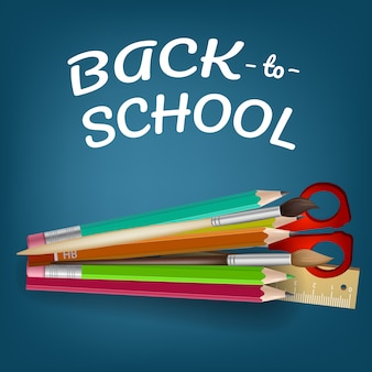 Volta para escola letras com lápis de cor e tesoura