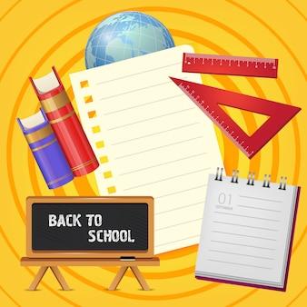Volta para escola letras no quadro-negro com o bloco de notas e livros