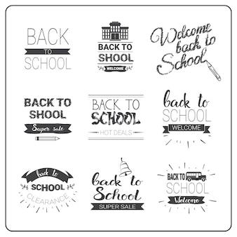 Volta para escola logotipos conjunto doodle mão desenhada rótulo coleção