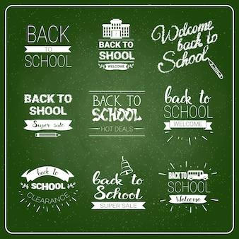 Volta para escola logotipos definir coleção de rótulo riscado