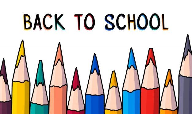 Volta para escola mão desenhada ilustração vetorial com lápis de cor.