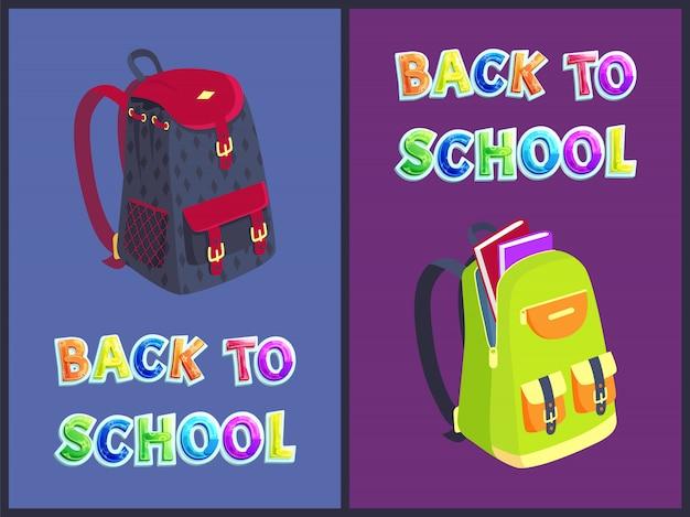 Volta para escola mochila conjunto ilustração vetorial