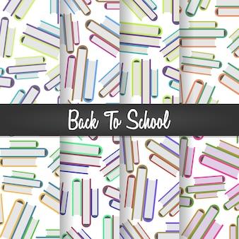 Volta para escola pilha de livros sem costura padrão