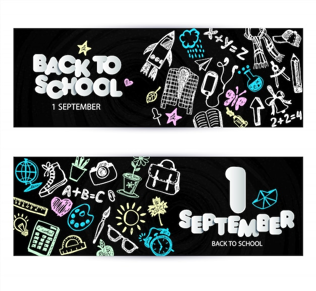 Volta para escola promo banner design. quadro preto de vetor