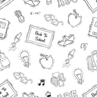 Volta para escola sem costura padrão com estilo doodle