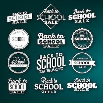 Volta para escola tipográfica rótulo design conjunto