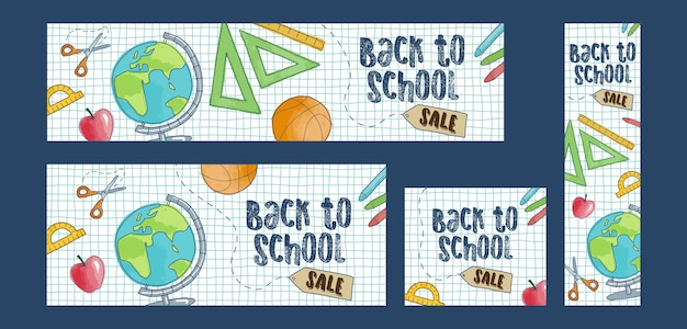 Volta para escola venda conjunto de quatro banners web.