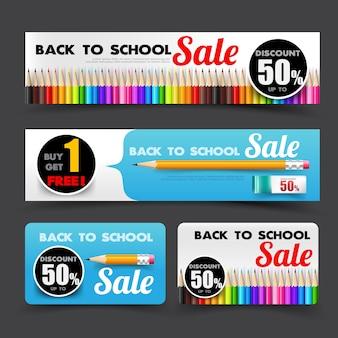 Volta para escola venda conjunto tag banner para promoção