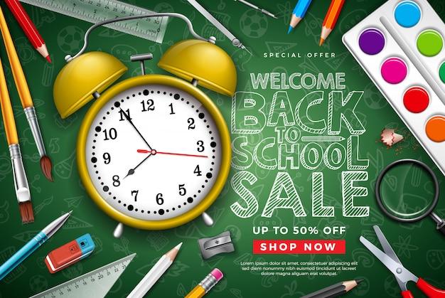 Volta para escola venda design com despertador e tipografia carta sobre fundo de quadro de giz