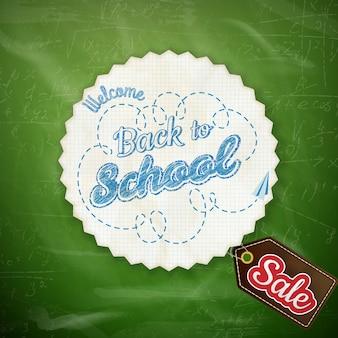 Volta para escola venda design sobre fundo verde.
