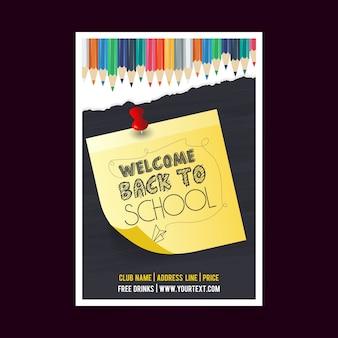 Volta para escola verão venda brochura design vector