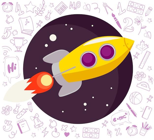 Volta para ilustração de escola com foguete amarelo grande voador no céu azul escuro isolado.