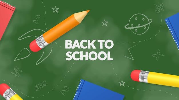 Volta para ilustração de escola com lápis 3d e livro na placa verde