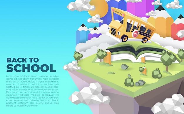 Volta para ilustração de escola com modelo de texto