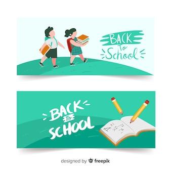 Volta para ilustração de escola com personagens e livro