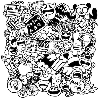 Volta para ilustração de escola com personagens engraçados da escola
