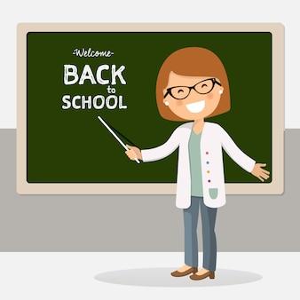 Volta para ilustração em vetor professor escola