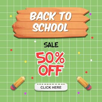 Volta para o banner de venda de escola com elementos aquarela