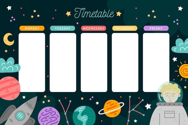 Volta para o calendário escolar mão desenhada design