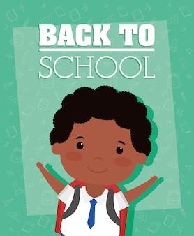 Volta para o cartão da escola com menino estudante afro