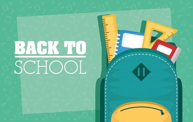 Volta para o cartão da escola com mochila