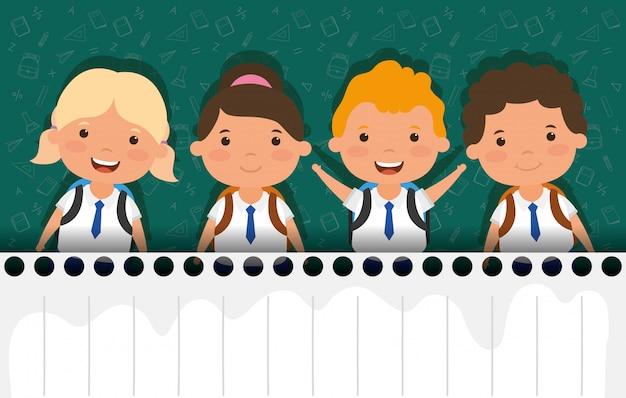 Volta para o cartão da escola com o grupo de alunos