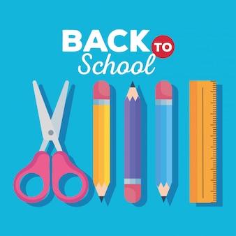 Volta para o cartão da escola, tesoura com lápis e régua vector design ilustração