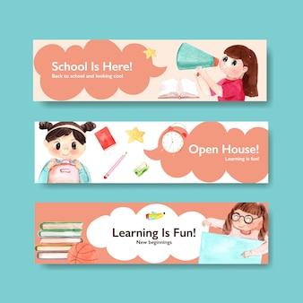 Volta para o conceito de escola e educação com modelo de banner para brochura e marketing aquarela