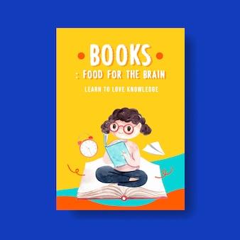 Volta para o conceito de escola e educação com modelo de cartaz para brochura e publicidade em aquarela