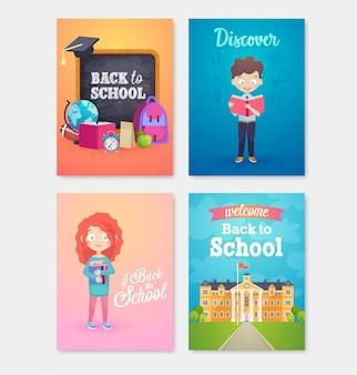 Volta para o conjunto de cartão de escola, crianças de escola, lousas, equipamentos.