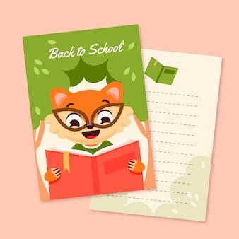 Volta para o conjunto de modelo de cartão de escola