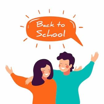 Volta para o desenho de vetor de escola com crianças felizes, abraçando uns aos outros