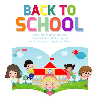 Volta para o desenho de vetor de escola com crianças felizes