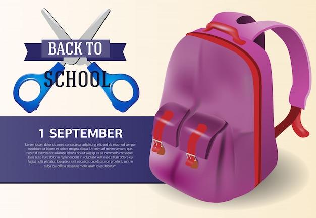 Volta para o design de cartaz de escola com mochila violeta