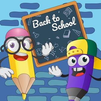 Volta para o design de cartaz de escola. lápis de desenho animado a bordo