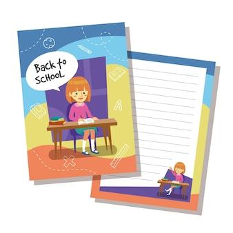 Volta para o design de modelo de cartão de escola